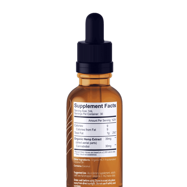 One Farm Organic CBD Unflavored Supplement Facts